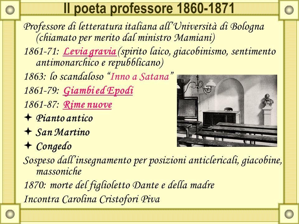 Il poeta professore 1860-1871 Professore di letteratura italiana all'Università di Bologna (chiamato per merito dal ministro Mamiani)