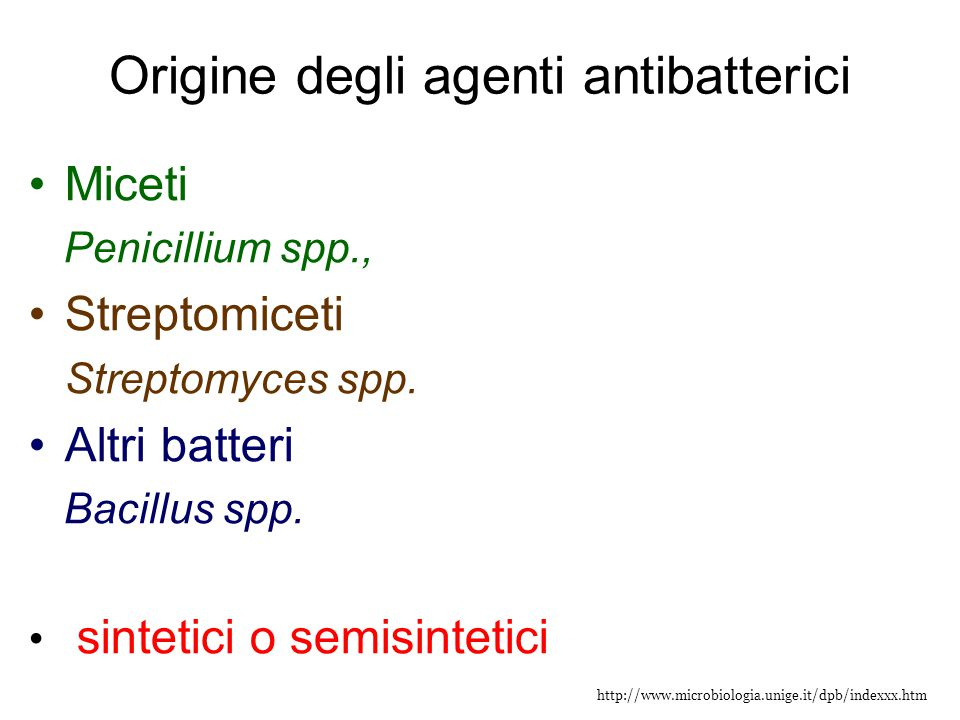 Origine degli agenti antibatterici