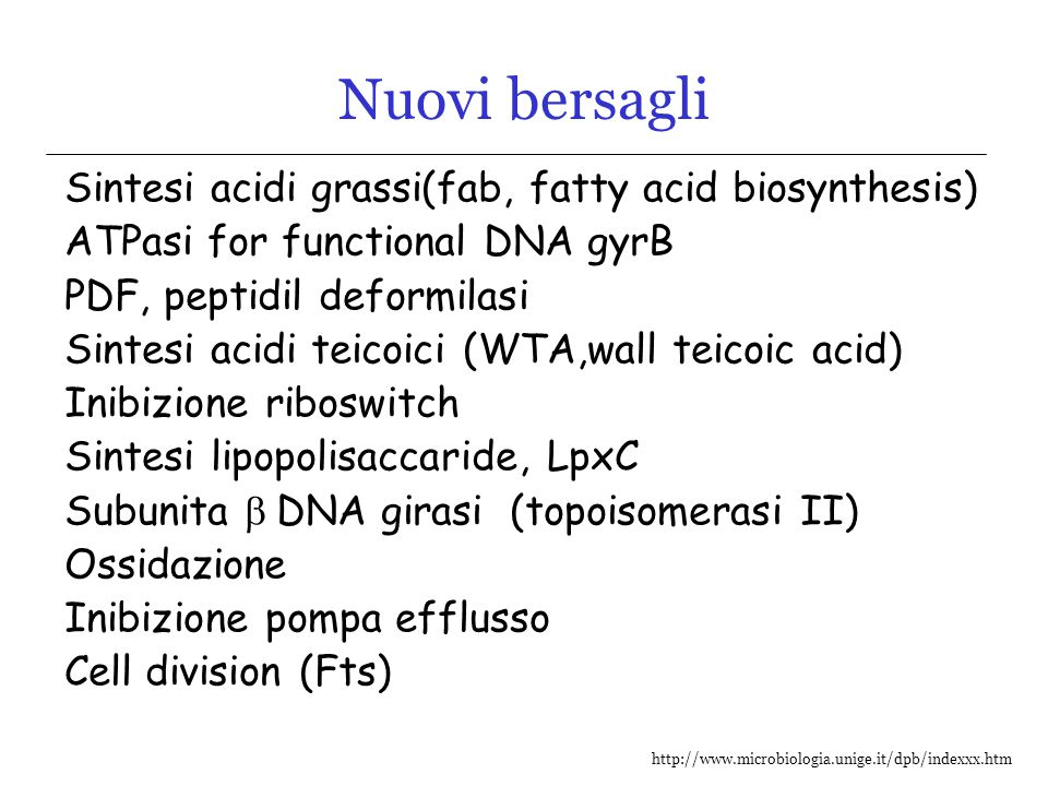 Nuovi bersagli Sintesi acidi grassi(fab, fatty acid biosynthesis)