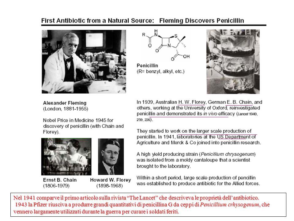 Nel 1941 comparve il primo articolo sulla rivista The Lancet che descriveva le proprietà dell'antibiotico.