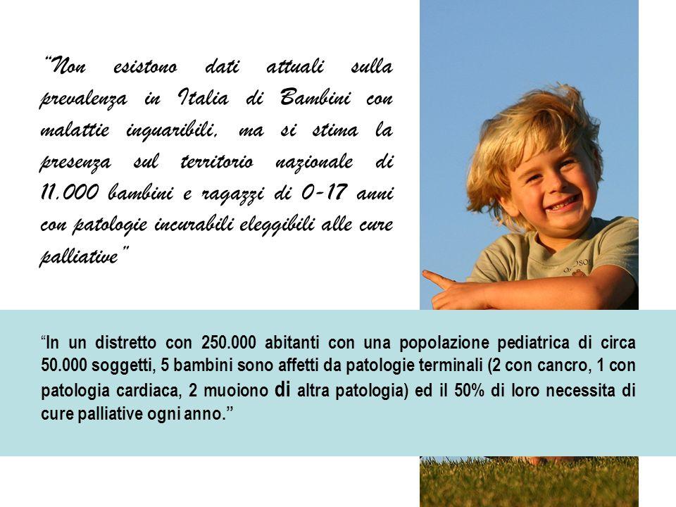 Non esistono dati attuali sulla prevalenza in Italia di Bambini con malattie inguaribili, ma si stima la presenza sul territorio nazionale di 11.000 bambini e ragazzi di 0-17 anni con patologie incurabili eleggibili alle cure palliative