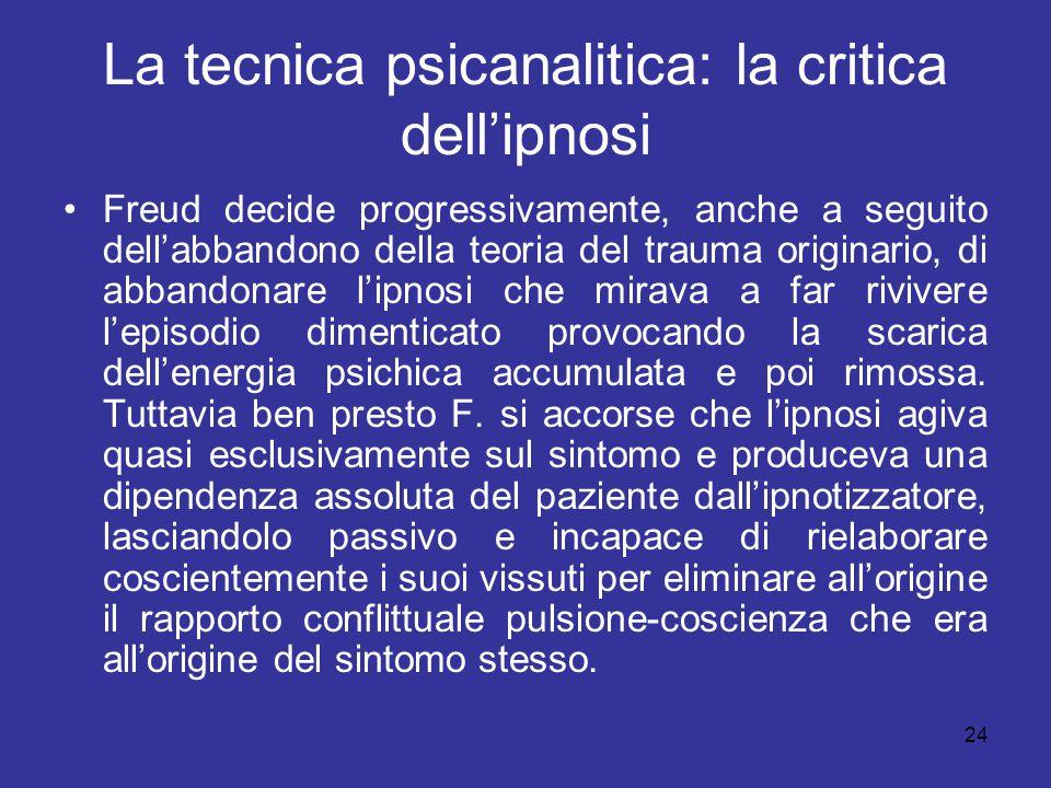 La tecnica psicanalitica: la critica dell'ipnosi