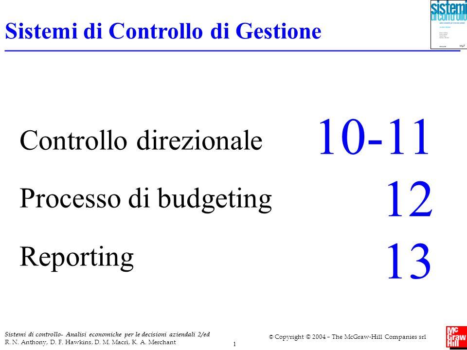 10-11 12 13 Controllo direzionale Processo di budgeting Reporting