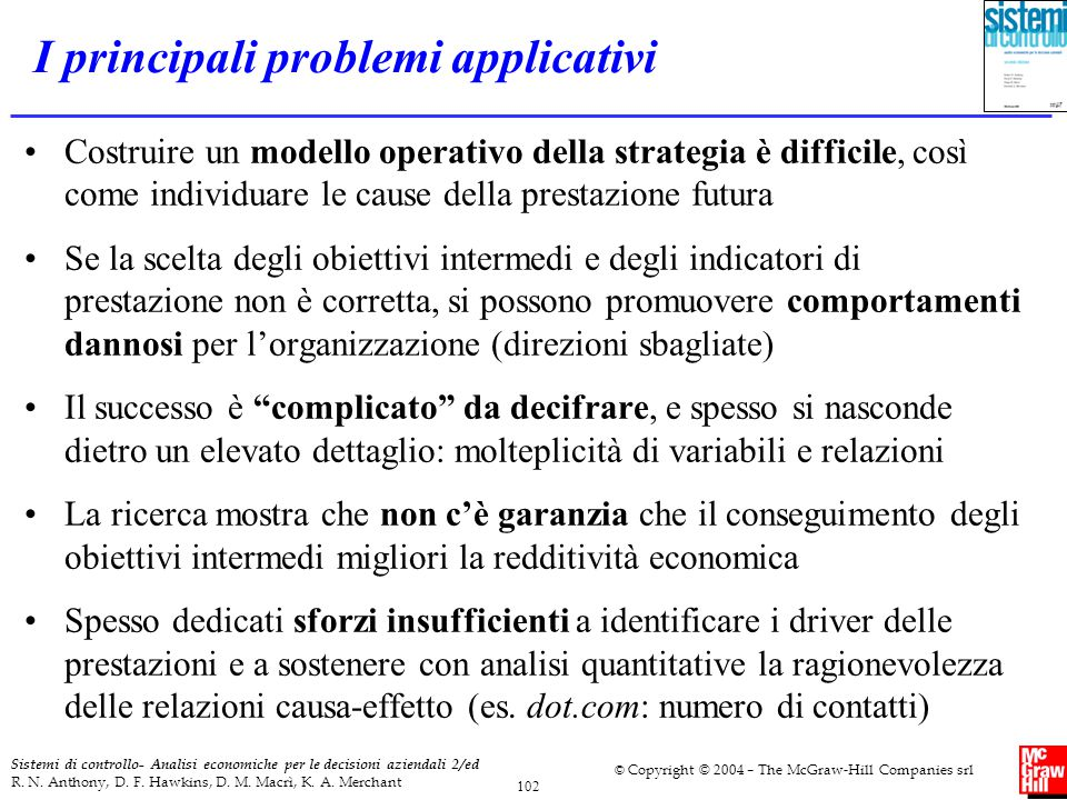 I principali problemi applicativi