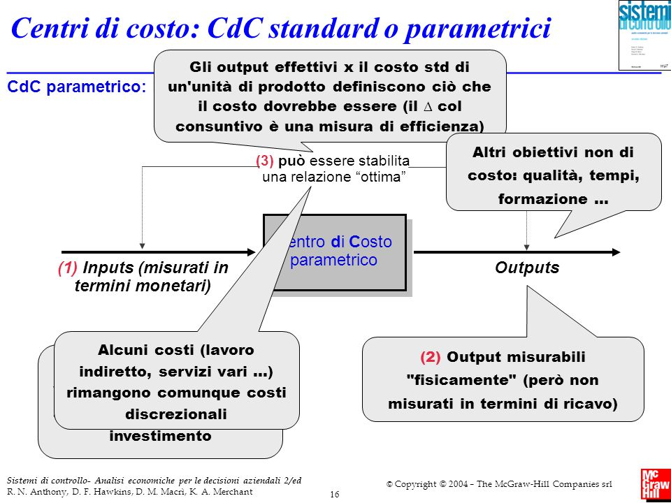 Centri di costo: CdC standard o parametrici