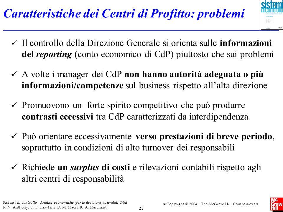Caratteristiche dei Centri di Profitto: problemi