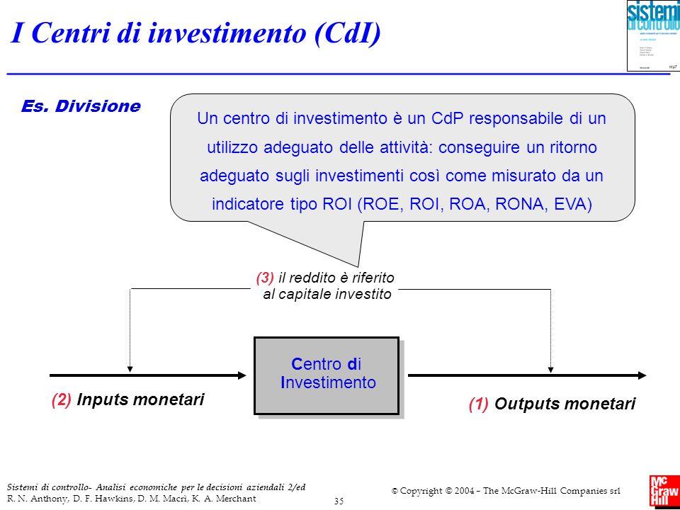 I Centri di investimento (CdI)