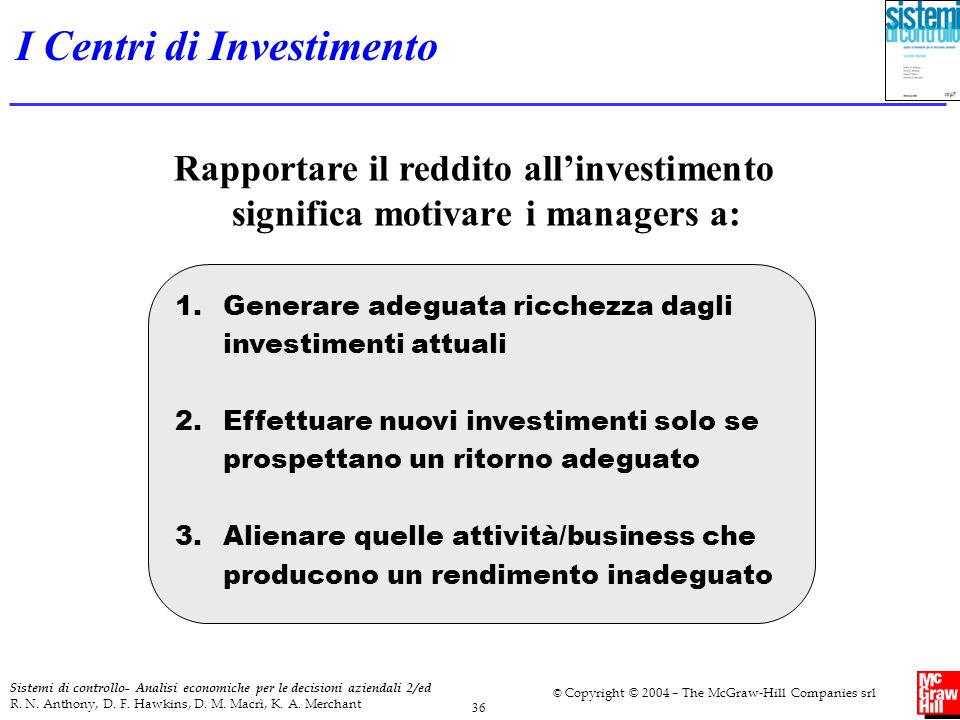 I Centri di Investimento