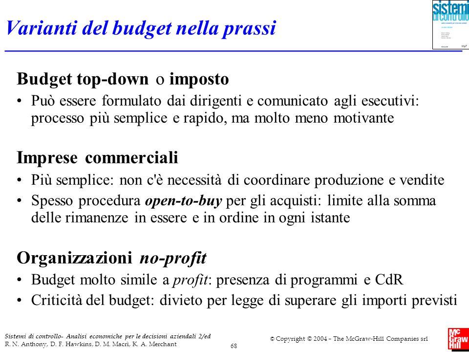 Varianti del budget nella prassi