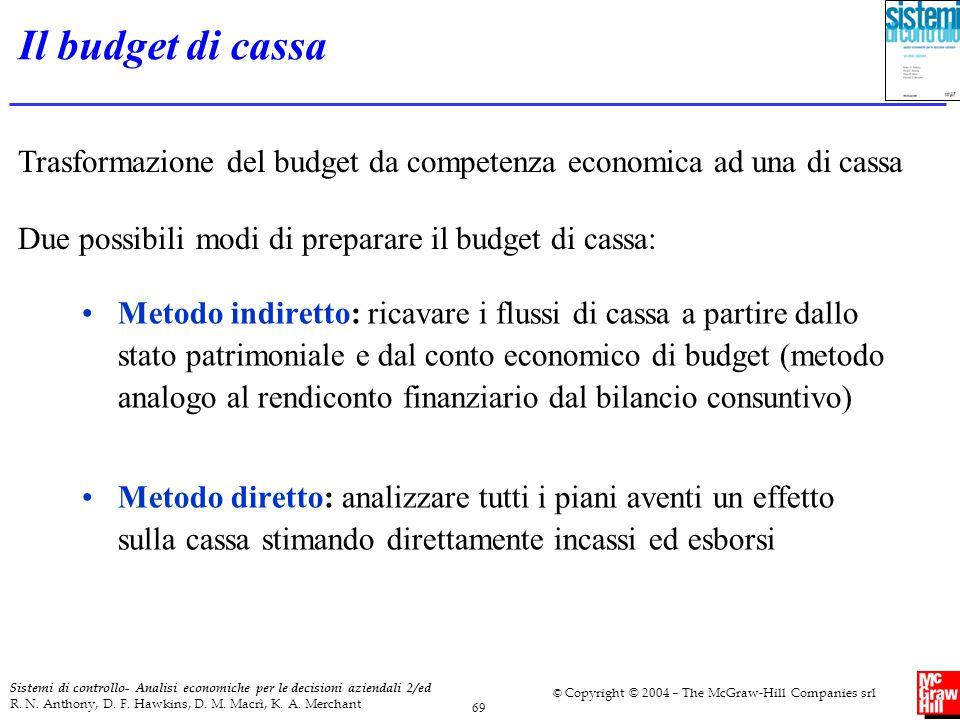 Il budget di cassa Trasformazione del budget da competenza economica ad una di cassa. Due possibili modi di preparare il budget di cassa: