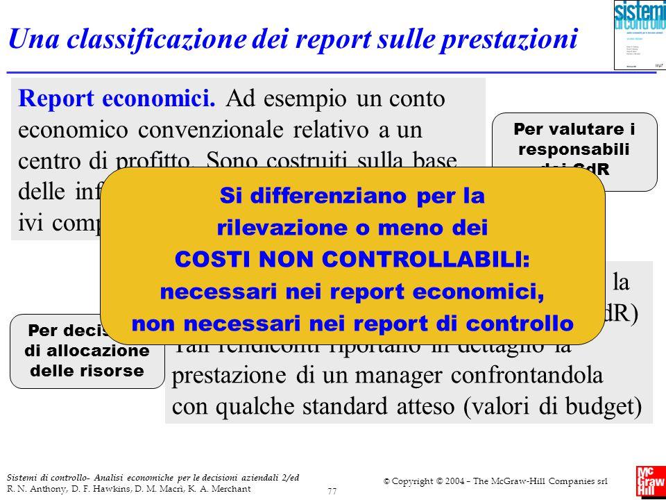 Una classificazione dei report sulle prestazioni