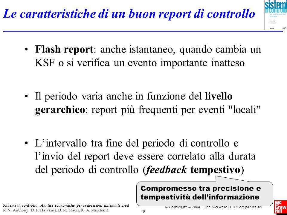 Le caratteristiche di un buon report di controllo