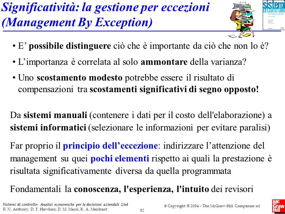 Significatività: la gestione per eccezioni (Management By Exception)
