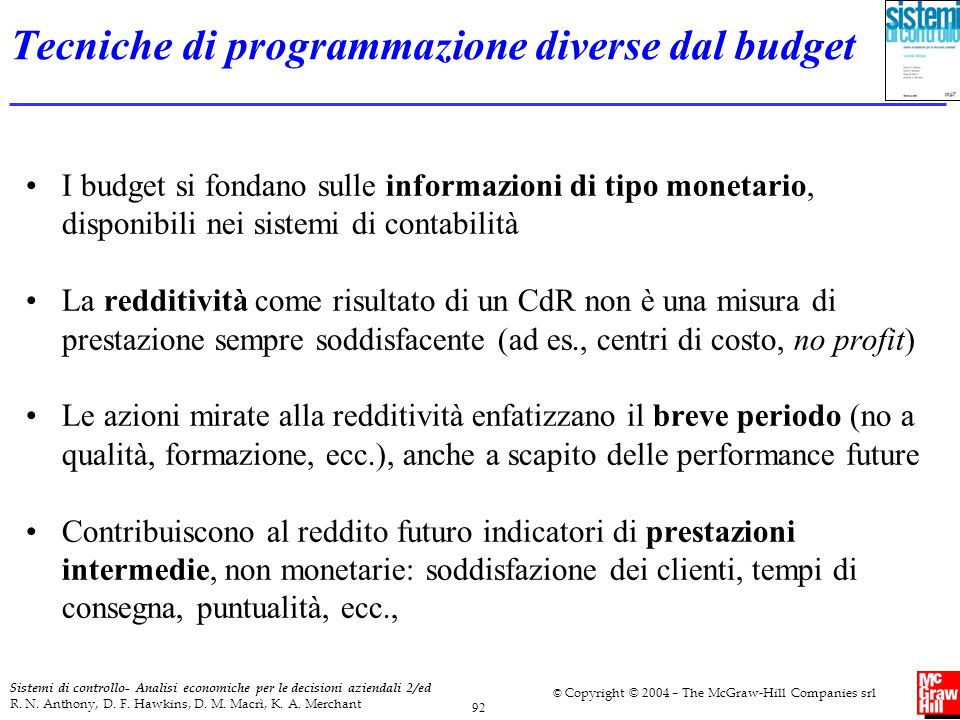 Tecniche di programmazione diverse dal budget