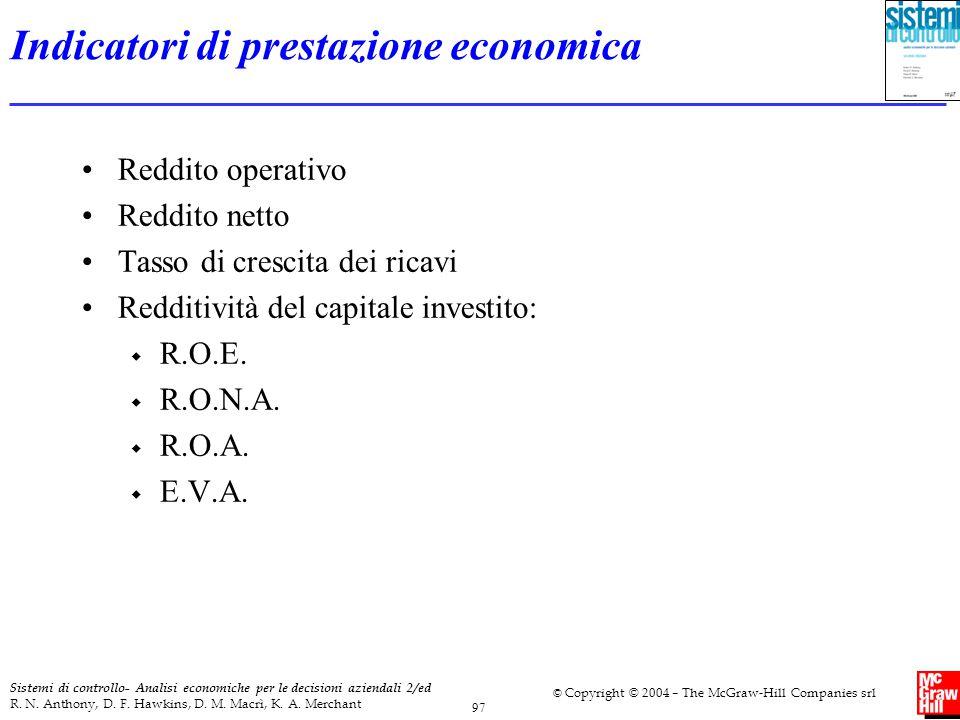 Indicatori di prestazione economica