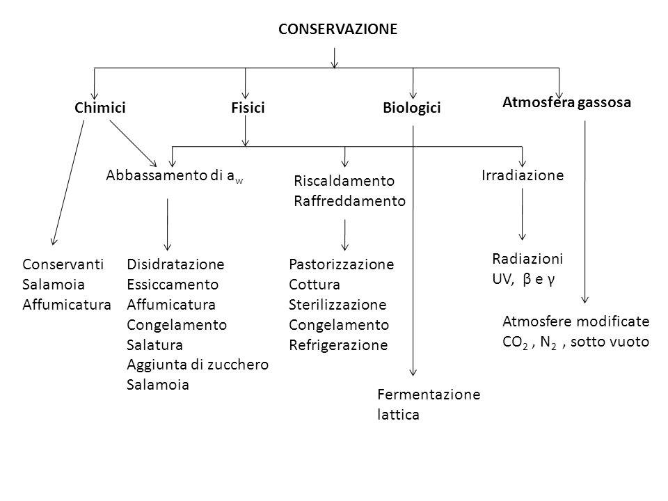 CONSERVAZIONE Atmosfera gassosa. Chimici. Fisici. Biologici. Abbassamento di aw. Irradiazione.