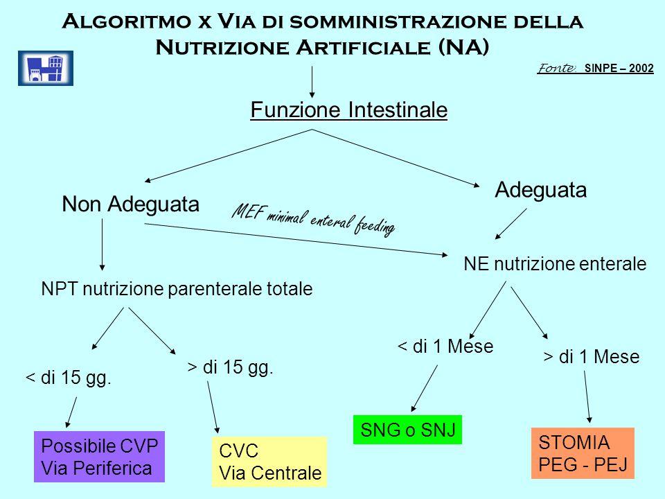 Algoritmo x Via di somministrazione della Nutrizione Artificiale (NA)