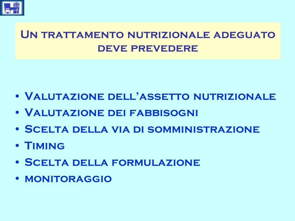 Un trattamento nutrizionale adeguato deve prevedere
