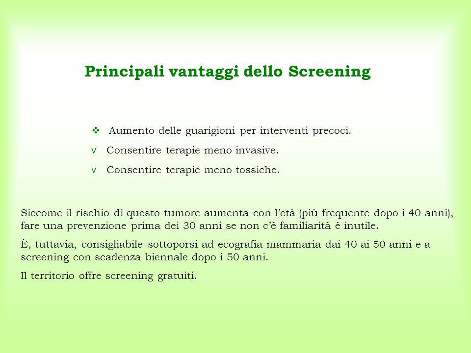 Principali vantaggi dello Screening