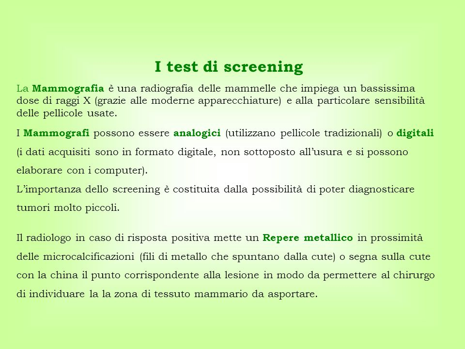 I test di screening