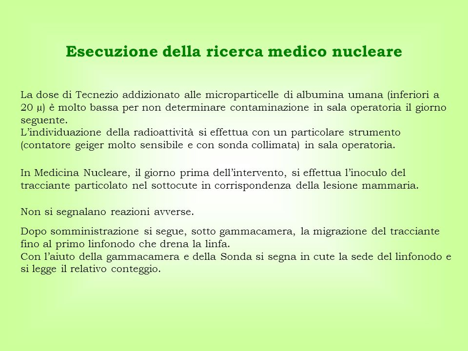 Esecuzione della ricerca medico nucleare
