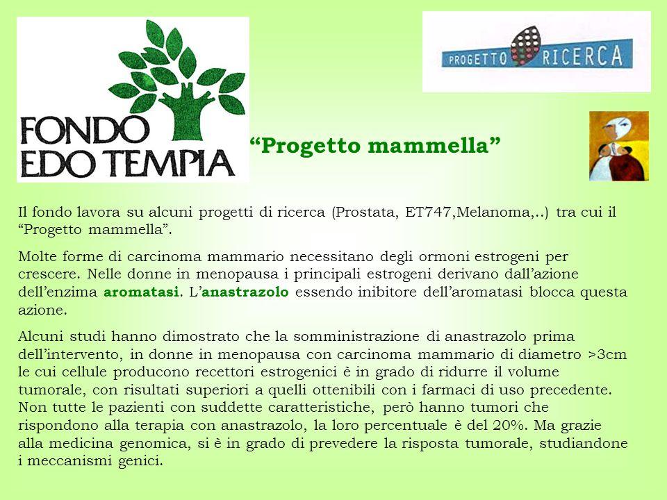 Progetto mammella Il fondo lavora su alcuni progetti di ricerca (Prostata, ET747,Melanoma,..) tra cui il Progetto mammella .