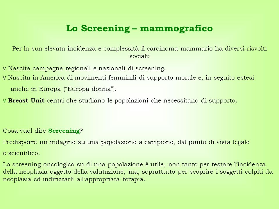 Lo Screening – mammografico