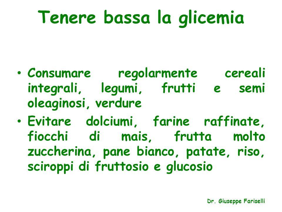 Tenere bassa la glicemia