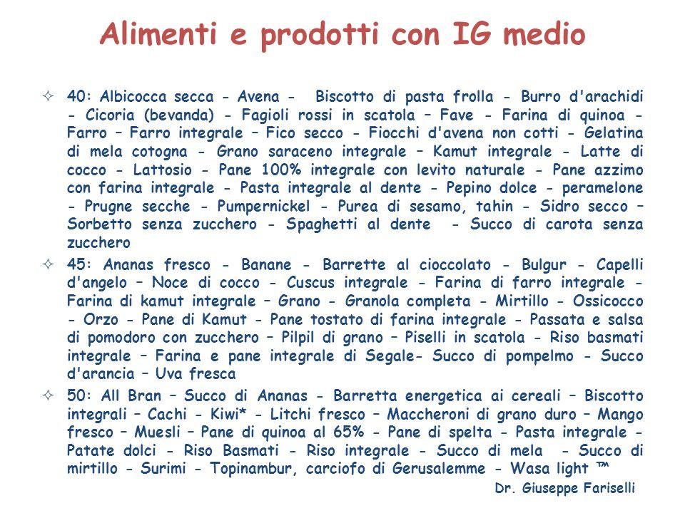 Alimenti e prodotti con IG medio