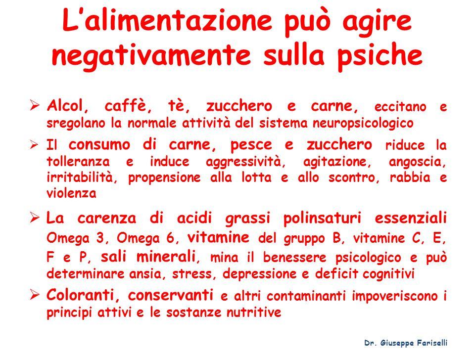 L'alimentazione può agire negativamente sulla psiche