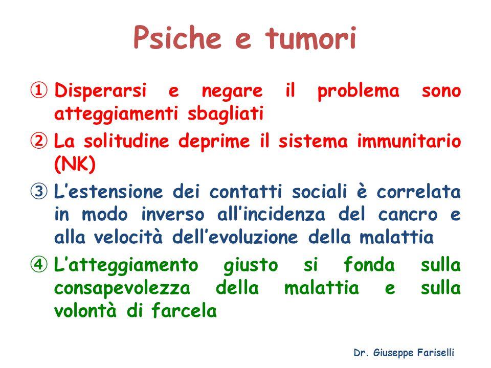 Psiche e tumori Disperarsi e negare il problema sono atteggiamenti sbagliati. La solitudine deprime il sistema immunitario (NK)