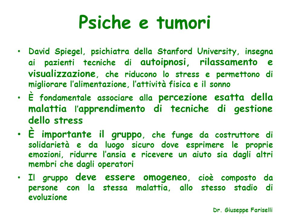 Psiche e tumori
