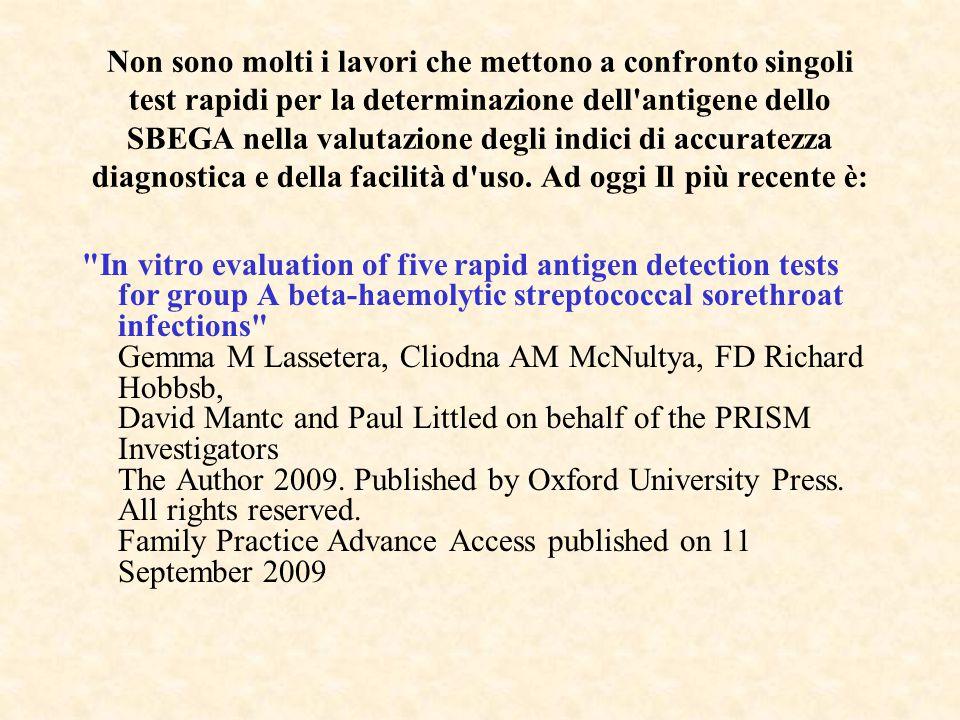 Non sono molti i lavori che mettono a confronto singoli test rapidi per la determinazione dell antigene dello SBEGA nella valutazione degli indici di accuratezza diagnostica e della facilità d uso. Ad oggi Il più recente è:
