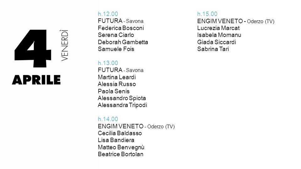 h.12.00 FUTURA - Savona. Federica Bosconi. Serena Ciarlo. Deborah Gambetta. Samuele Fois. h.13.00.