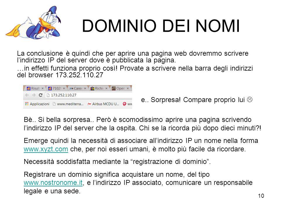DOMINIO DEI NOMI La conclusione è quindi che per aprire una pagina web dovremmo scrivere l'indirizzo IP del server dove è pubblicata la pagina.