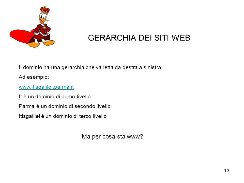 GERARCHIA DEI SITI WEB Ma per cosa sta www