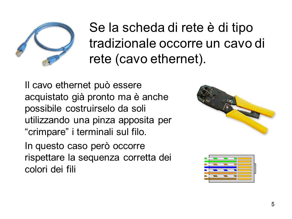 Se la scheda di rete è di tipo tradizionale occorre un cavo di rete (cavo ethernet).