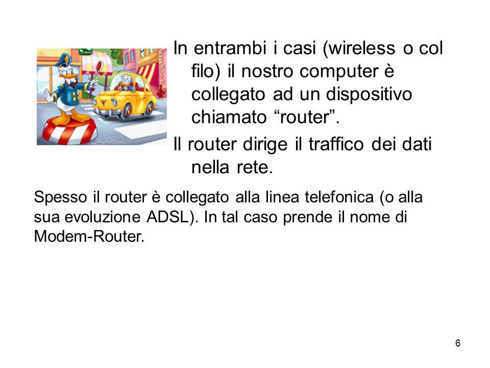 Il router dirige il traffico dei dati nella rete.