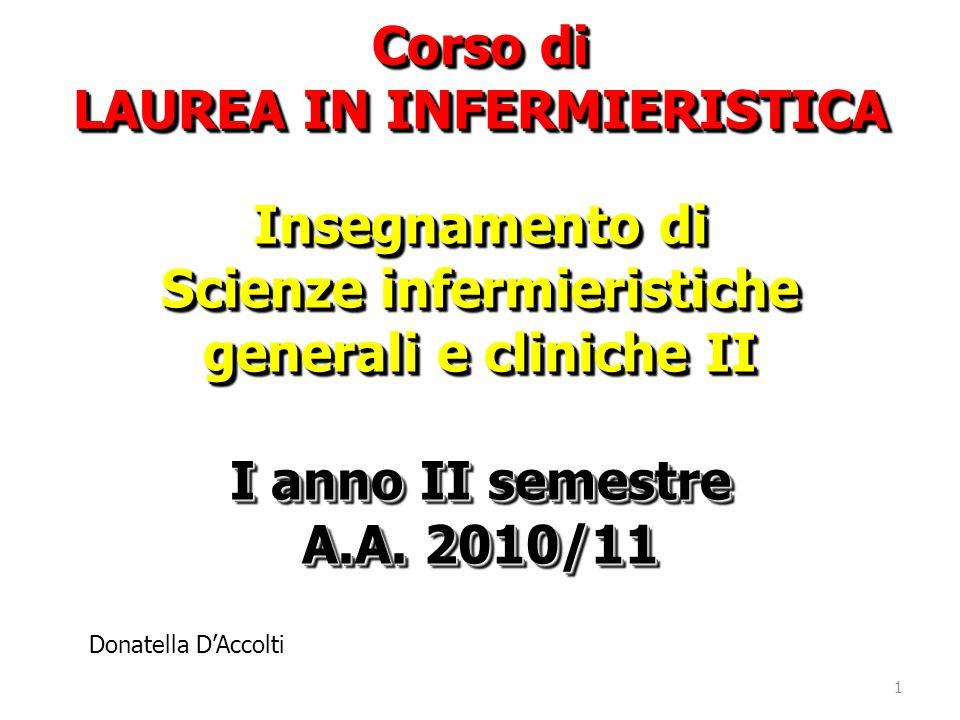 Corso di LAUREA IN INFERMIERISTICA Insegnamento di Scienze infermieristiche generali e cliniche II I anno II semestre A.A. 2010/11