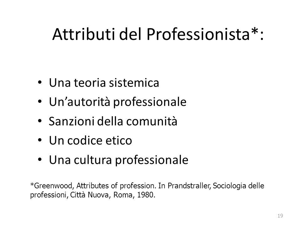 Attributi del Professionista*: