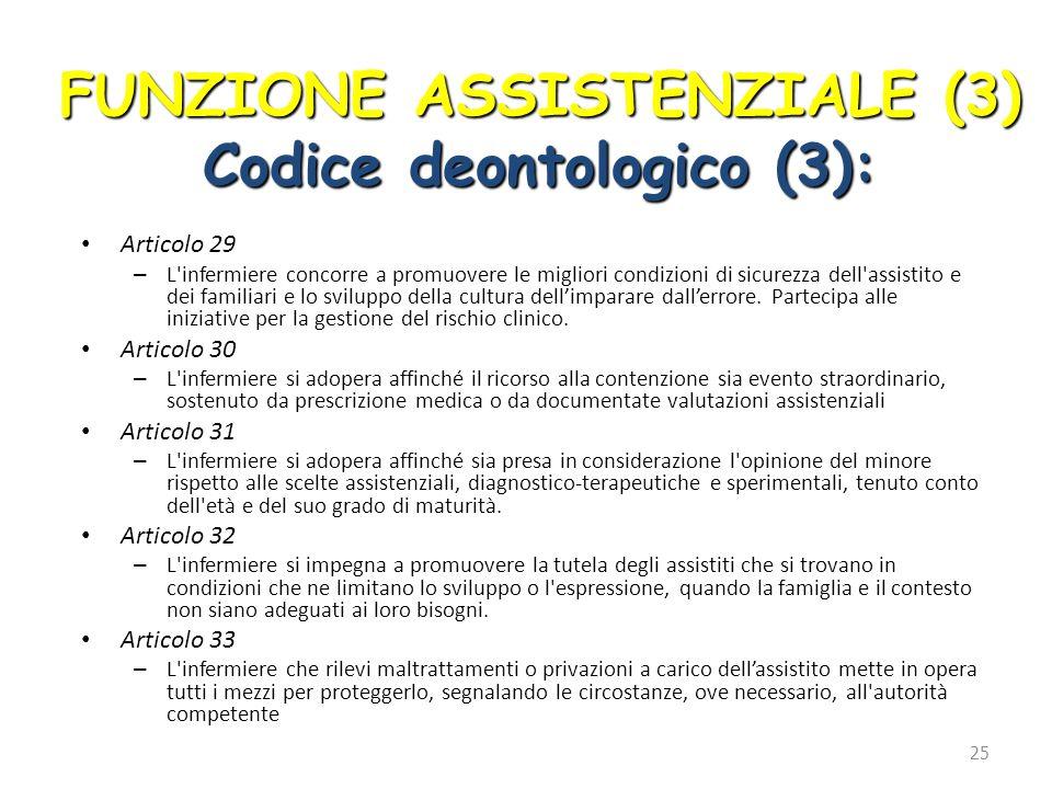 FUNZIONE ASSISTENZIALE (3) Codice deontologico (3):