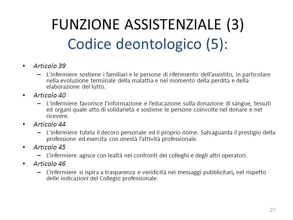 FUNZIONE ASSISTENZIALE (3) Codice deontologico (5):