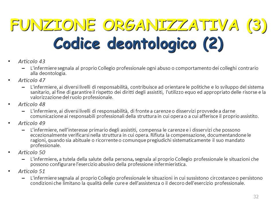 FUNZIONE ORGANIZZATIVA (3) Codice deontologico (2)