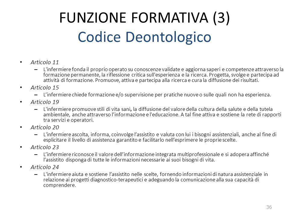 FUNZIONE FORMATIVA (3) Codice Deontologico