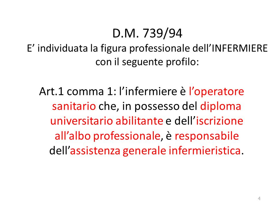 D.M. 739/94 E' individuata la figura professionale dell'INFERMIERE con il seguente profilo: