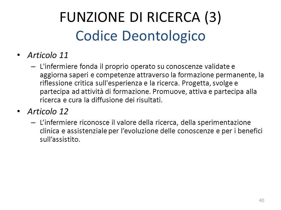 FUNZIONE DI RICERCA (3) Codice Deontologico