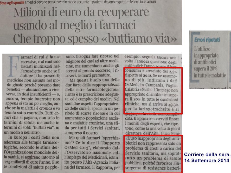 Corriere della sera, 14 Settembre 2014