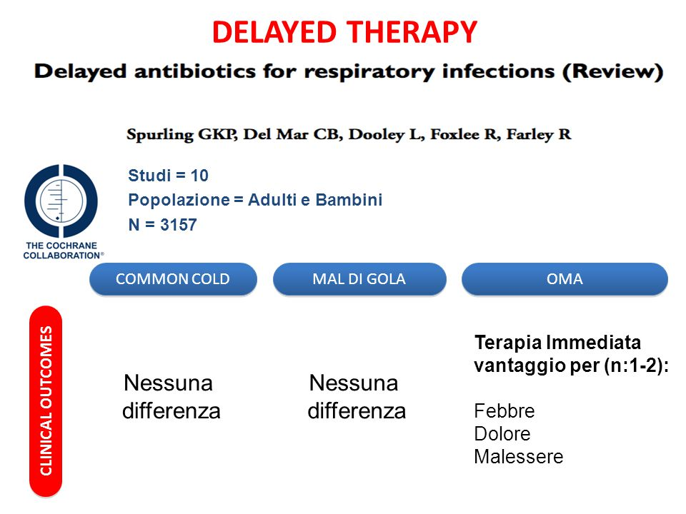 DELAYED THERAPY Nessuna differenza Nessuna differenza