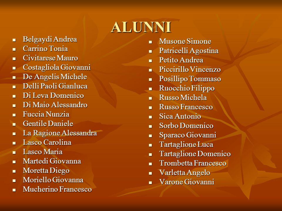 ALUNNI Musone Simone Belgaydi Andrea Patricelli Agostina Carrino Tonia