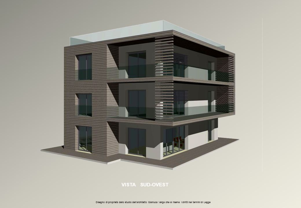 VISTA SUD-OVEST Disegno di proprietà dello studio dell'architetto Gianluca Verga che si riserva i diritti nei termini di Legge.
